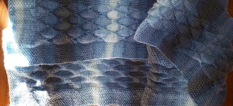 Écharpe camaïeu bleuté