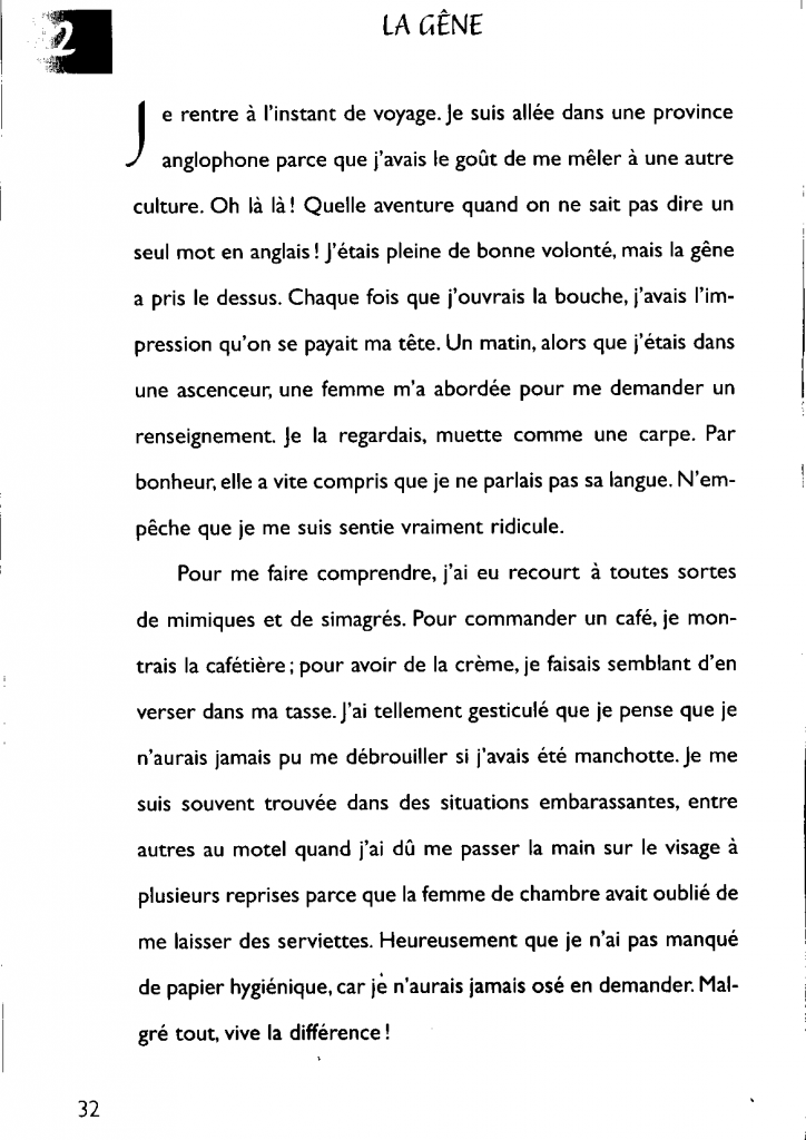 """la version non corrigée du texte n°22, intitulé """"La gêne"""""""