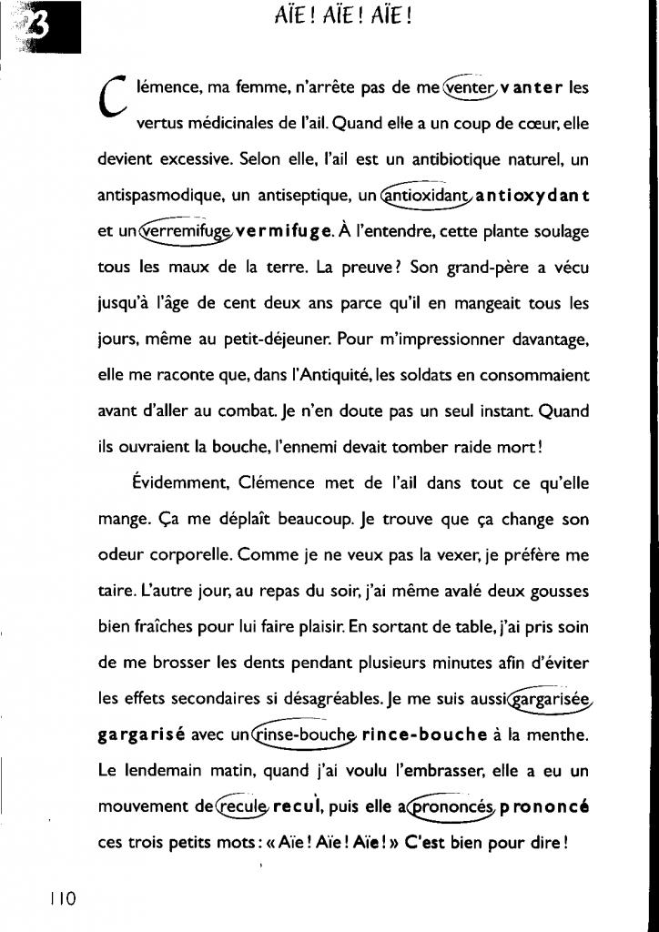 """la version corrigée du texte n°23, intitulé """"Aïe ! Aïe ! Aïe !"""""""